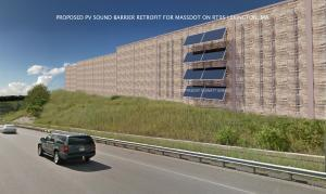Solar Noise Barrier NuWatt Energy-MassDOT @ Lexington, MA